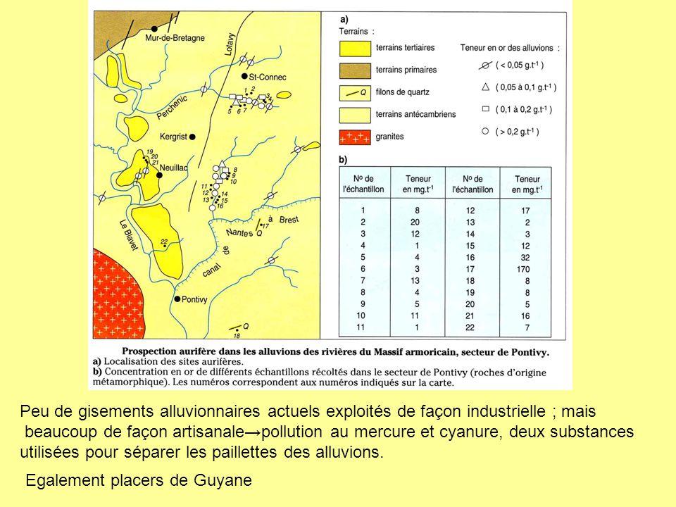 Egalement placers de Guyane Peu de gisements alluvionnaires actuels exploités de façon industrielle ; mais beaucoup de façon artisanale→pollution au m