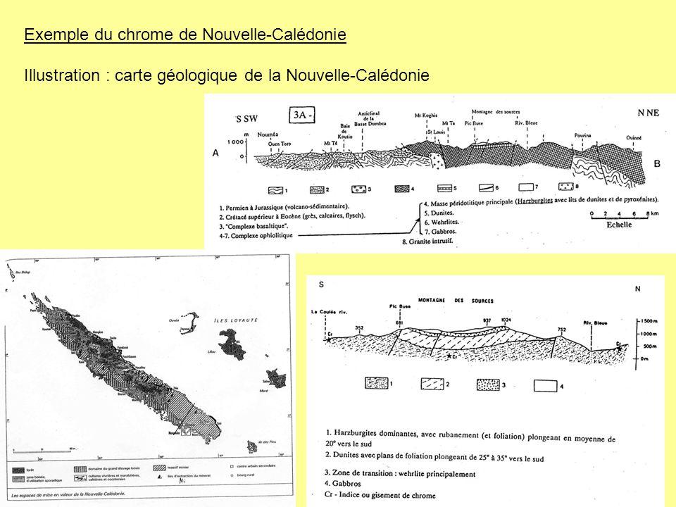 Exemple du chrome de Nouvelle-Calédonie Illustration : carte géologique de la Nouvelle-Calédonie