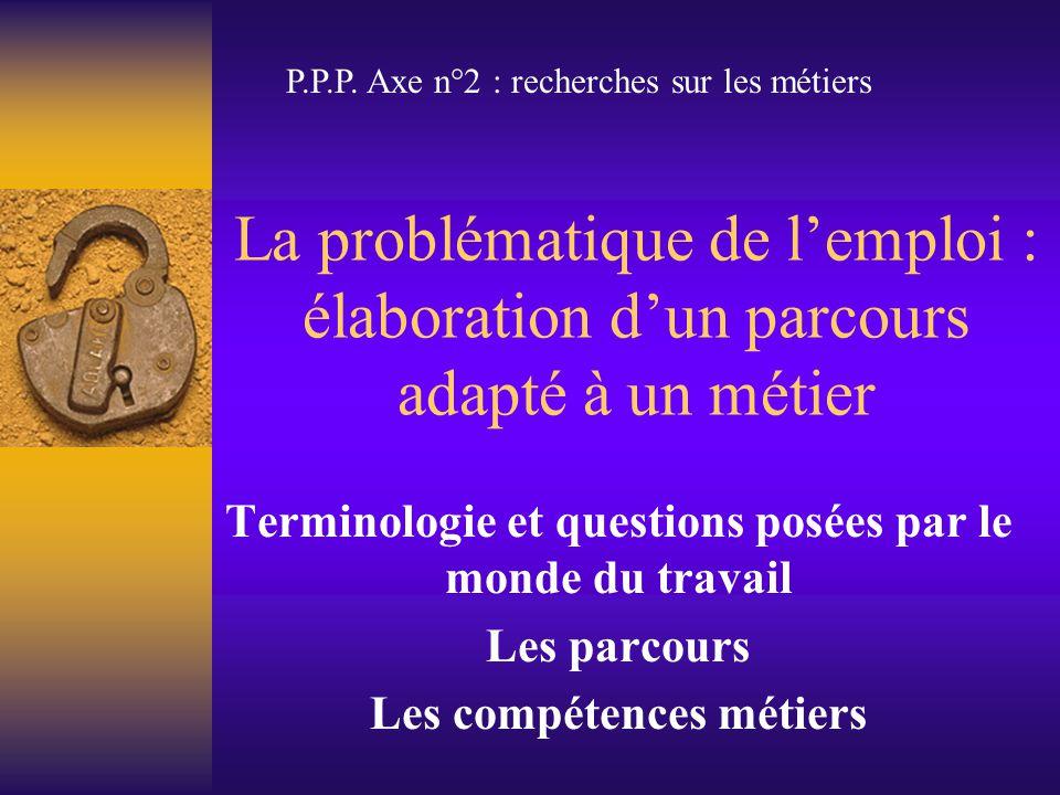 La problématique de l'emploi : élaboration d'un parcours adapté à un métier Terminologie et questions posées par le monde du travail Les parcours Les