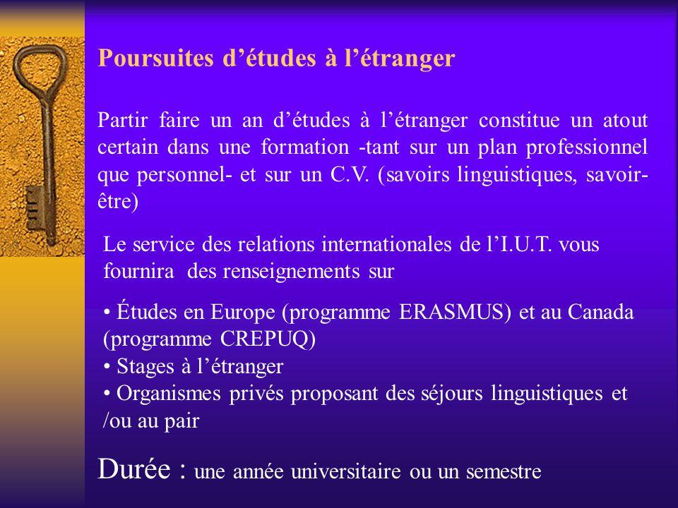 Poursuites d'études à l'étranger Partir faire un an d'études à l'étranger constitue un atout certain dans une formation -tant sur un plan professionne