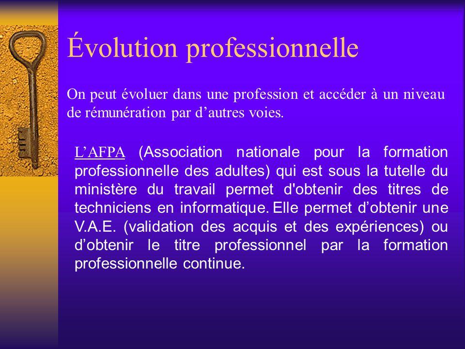 Évolution professionnelle On peut évoluer dans une profession et accéder à un niveau de rémunération par d'autres voies. L'AFPAL'AFPA (Association nat