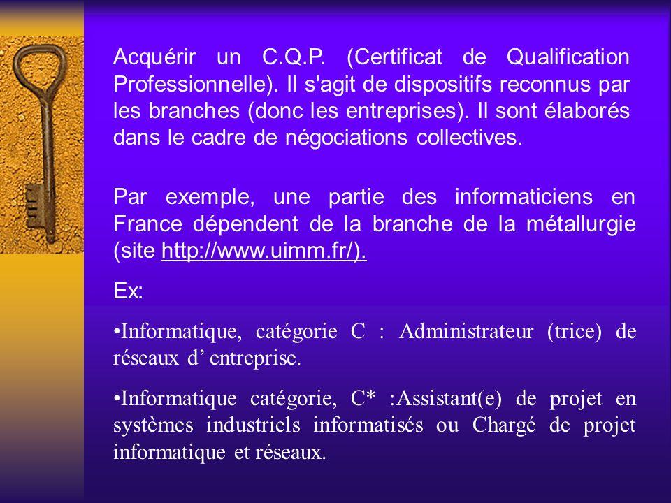 Acquérir un C.Q.P. (Certificat de Qualification Professionnelle). Il s'agit de dispositifs reconnus par les branches (donc les entreprises). Il sont é
