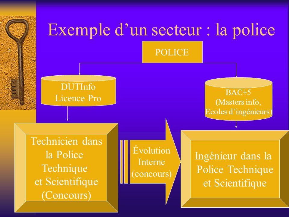 Exemple d'un secteur : la police POLICE DUTInfo Licence Pro BAC+5 (Masters info, Ecoles d'ingénieurs) Technicien dans la Police Technique et Scientifi