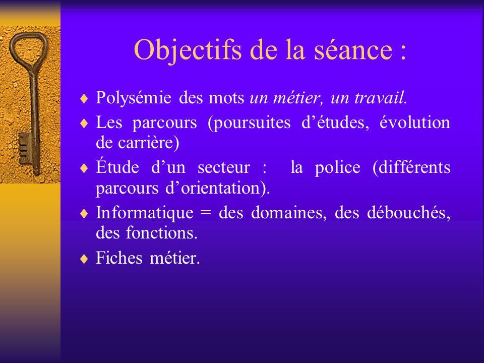 Objectifs de la séance :  Polysémie des mots un métier, un travail.  Les parcours (poursuites d'études, évolution de carrière)  Étude d'un secteur