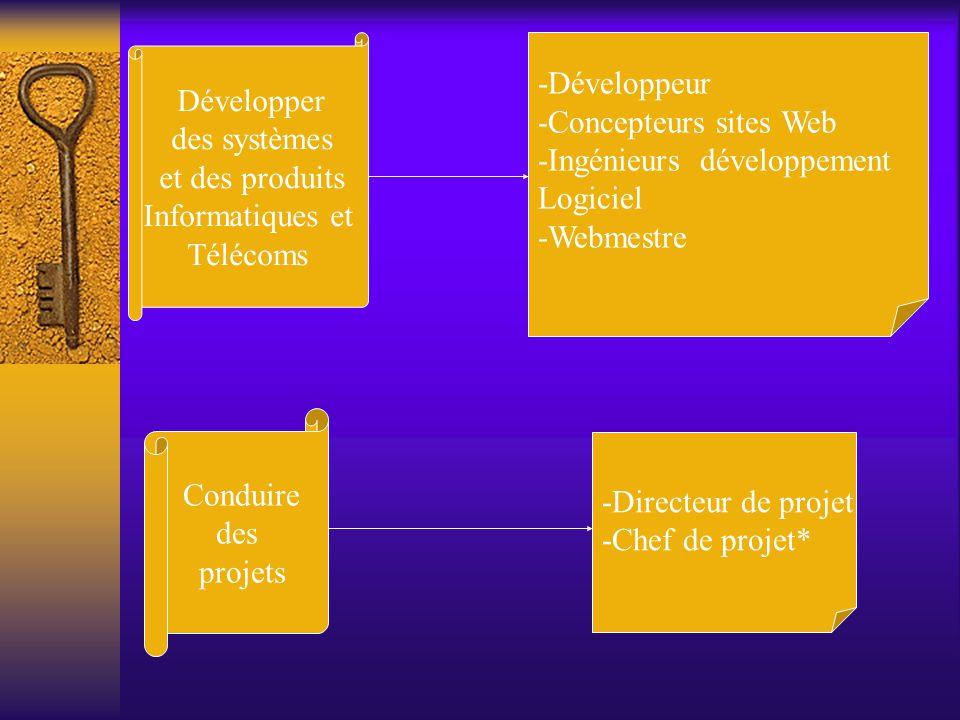 Développer des systèmes et des produits Informatiques et Télécoms -Développeur -Concepteurs sites Web -Ingénieurs développement Logiciel -Webmestre Co