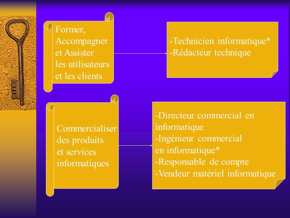 Former, Accompagner et Assister les utilisateurs et les clients -Technicien informatique* -Rédacteur technique Commercialiser des produits et services