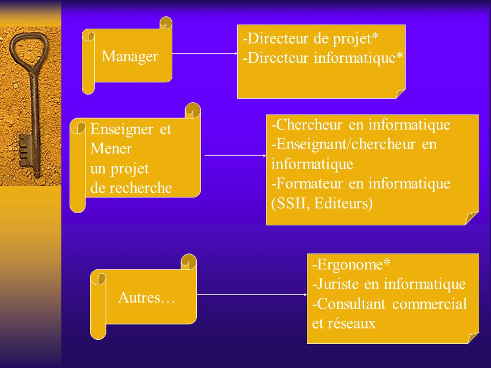 Manager -Directeur de projet* -Directeur informatique* Enseigner et Mener un projet de recherche -Chercheur en informatique -Enseignant/chercheur en i