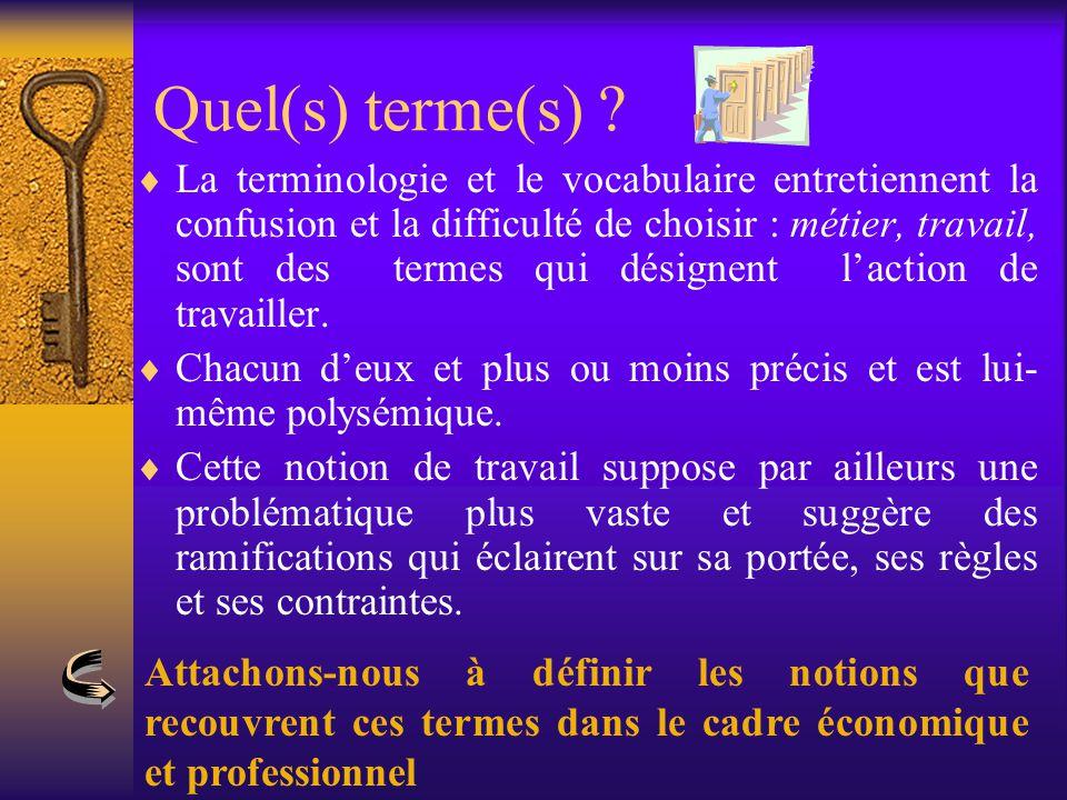 Quel(s) terme(s) ?  La terminologie et le vocabulaire entretiennent la confusion et la difficulté de choisir : métier, travail, sont des termes qui d