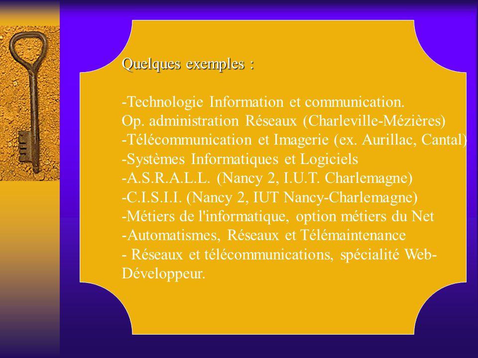 Quelques exemples : -Technologie Information et communication. Op. administration Réseaux (Charleville-Mézières) -Télécommunication et Imagerie (ex. A