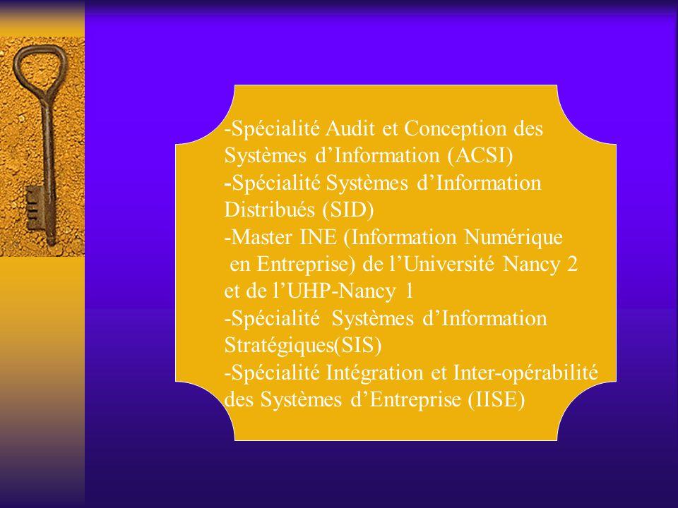 -Spécialité Audit et Conception des Systèmes d'Information (ACSI) -Spécialité Systèmes d'Information Distribués (SID) -Master INE (Information Numériq