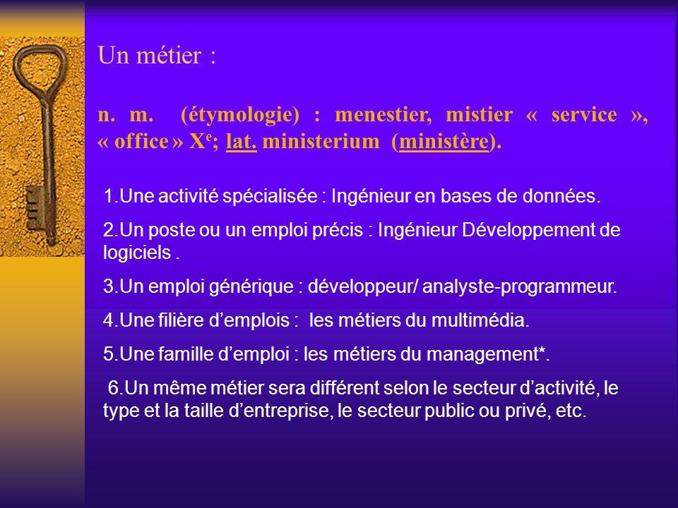 Un métier : n. m. (étymologie) : menestier, mistier « service », « office » X e ; lat. ministerium (ministère). 1.Une activité spécialisée : Ingénieur