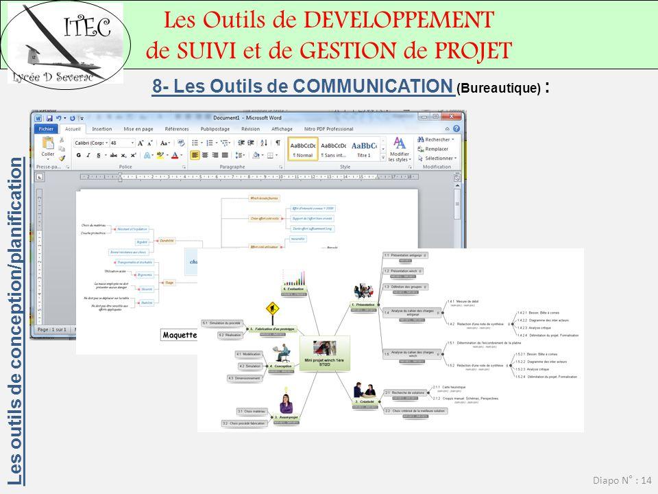 Les Outils de DEVELOPPEMENT de SUIVI et de GESTION de PROJET Diapo N° : 14 8- Les Outils de COMMUNICATION (Bureautique) : Les outils de conception/pla