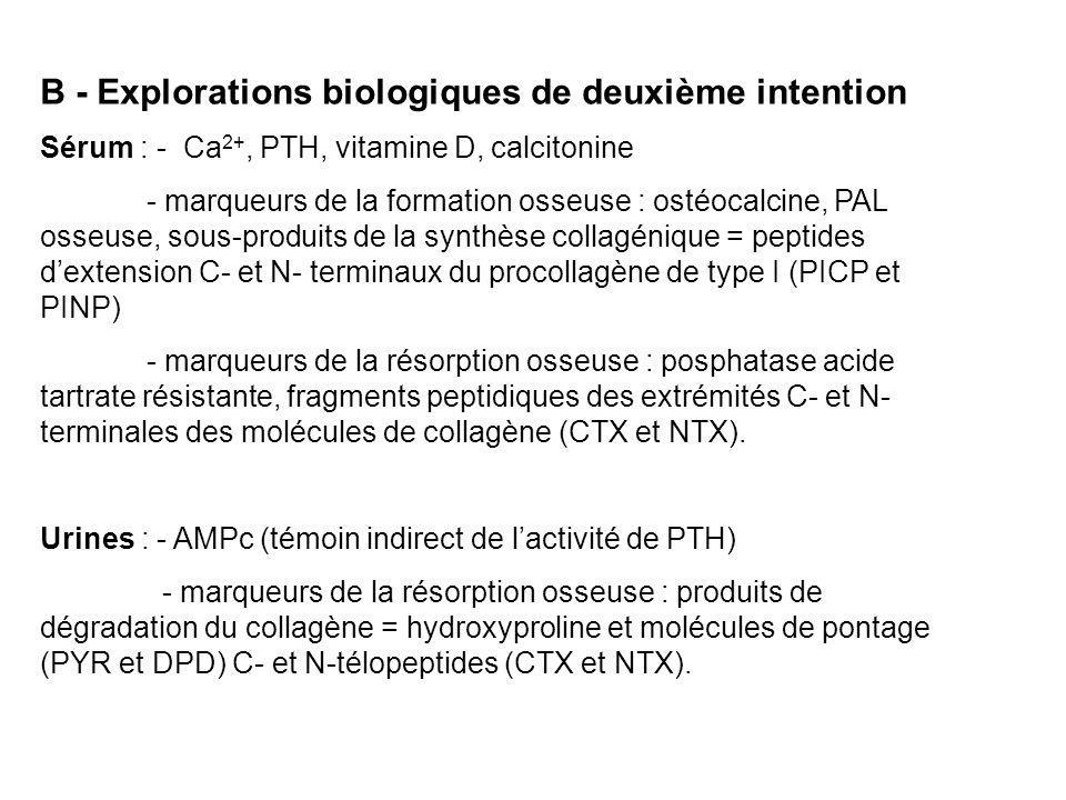 B - Explorations biologiques de deuxième intention Sérum : - Ca 2+, PTH, vitamine D, calcitonine - marqueurs de la formation osseuse : ostéocalcine, PAL osseuse, sous-produits de la synthèse collagénique = peptides d'extension C- et N- terminaux du procollagène de type I (PICP et PINP) - marqueurs de la résorption osseuse : posphatase acide tartrate résistante, fragments peptidiques des extrémités C- et N- terminales des molécules de collagène (CTX et NTX).