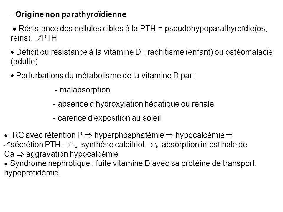 - Origine non parathyroïdienne  Résistance des cellules cibles à la PTH = pseudohypoparathyroïdie(os, reins). PTH  Déficit ou résistance à la vitami