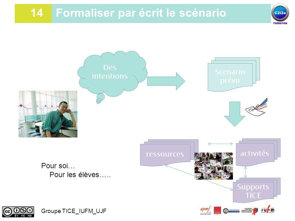 14 14 Formaliser par écrit le scénario Des intentions Scenario prévu Supports TICE ressources activités Pour soi… Pour les élèves….. Groupe TICE_IUFM_