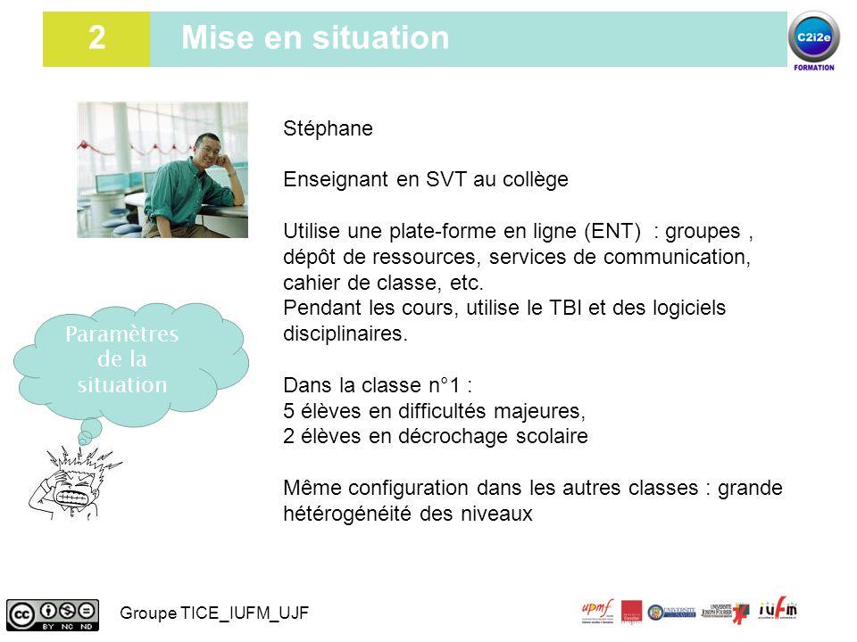 2 2 Mise en situation Stéphane Enseignant en SVT au collège Utilise une plate-forme en ligne (ENT) : groupes, dépôt de ressources, services de communi