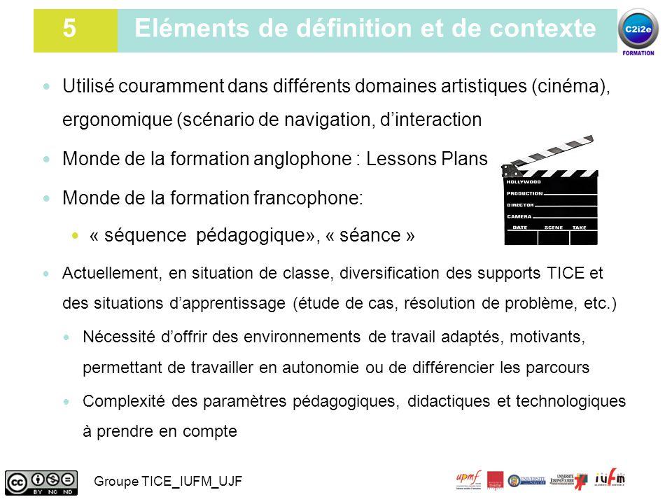 6 Scénario pédagogique : question de terminologie Utilisé couramment dans différents domaines artistiques (cinéma), ergonomique (scénario de navigatio