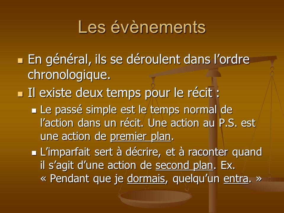 Les évènements En général, ils se déroulent dans l'ordre chronologique. En général, ils se déroulent dans l'ordre chronologique. Il existe deux temps