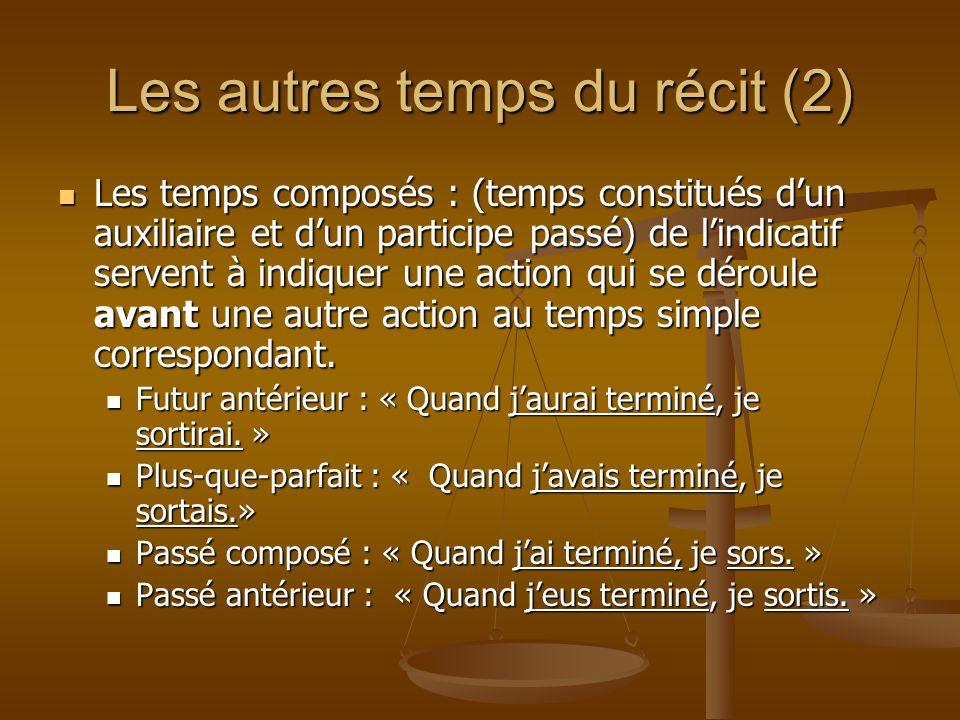 Les autres temps du récit (2) Les temps composés : (temps constitués d'un auxiliaire et d'un participe passé) de l'indicatif servent à indiquer une ac