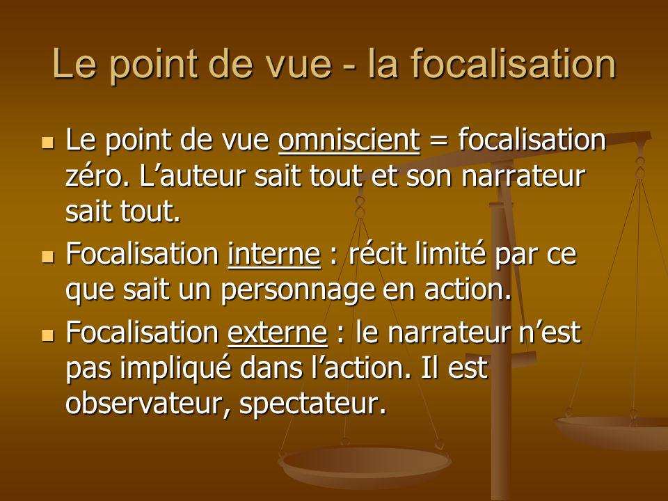 Le point de vue - la focalisation Le point de vue omniscient = focalisation zéro. L'auteur sait tout et son narrateur sait tout. Le point de vue omnis
