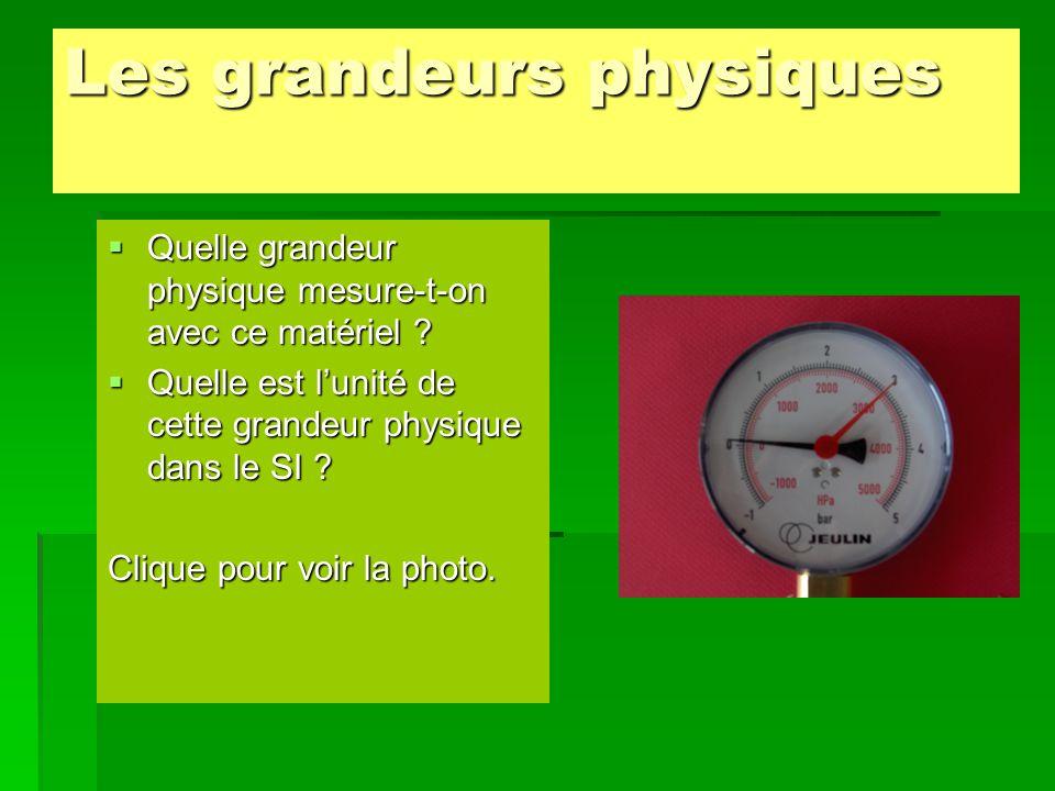 Les grandeurs physiques  Quelle grandeur physique mesure-t-on avec ce matériel ?  Quelle est l'unité de cette grandeur physique dans le SI ? Clique