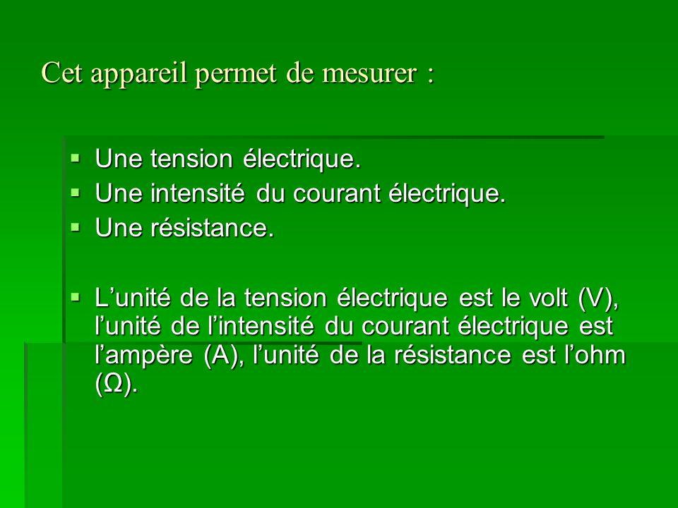 Cet appareil permet de mesurer :  Une tension électrique.  Une intensité du courant électrique.  Une résistance.  L'unité de la tension électrique