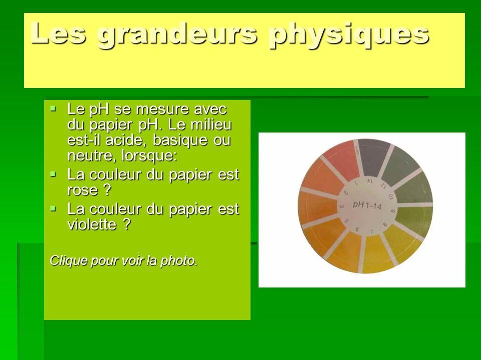 Les grandeurs physiques  Le pH se mesure avec du papier pH. Le milieu est-il acide, basique ou neutre, lorsque:  La couleur du papier est rose ?  L