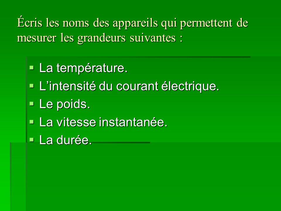 Écris les noms des appareils qui permettent de mesurer les grandeurs suivantes : LLLLa température. LLLL'intensité du courant électrique. LL