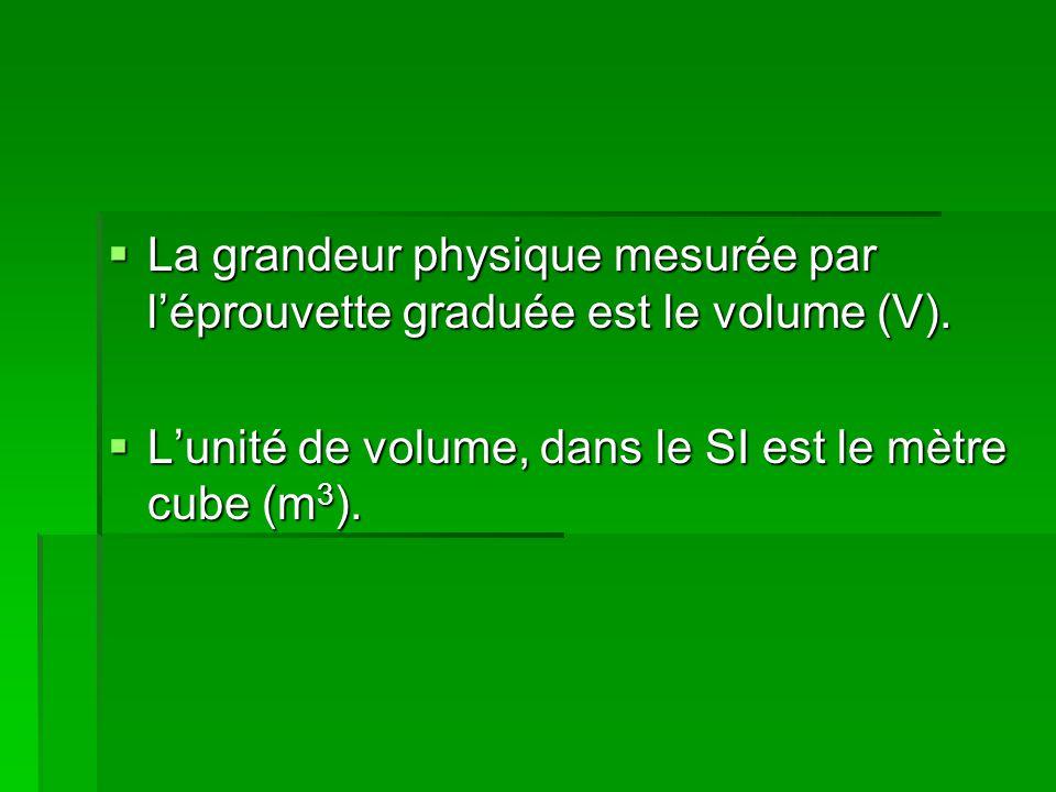  La grandeur physique mesurée par l'éprouvette graduée est le volume (V).  L'unité de volume, dans le SI est le mètre cube (m 3 ).
