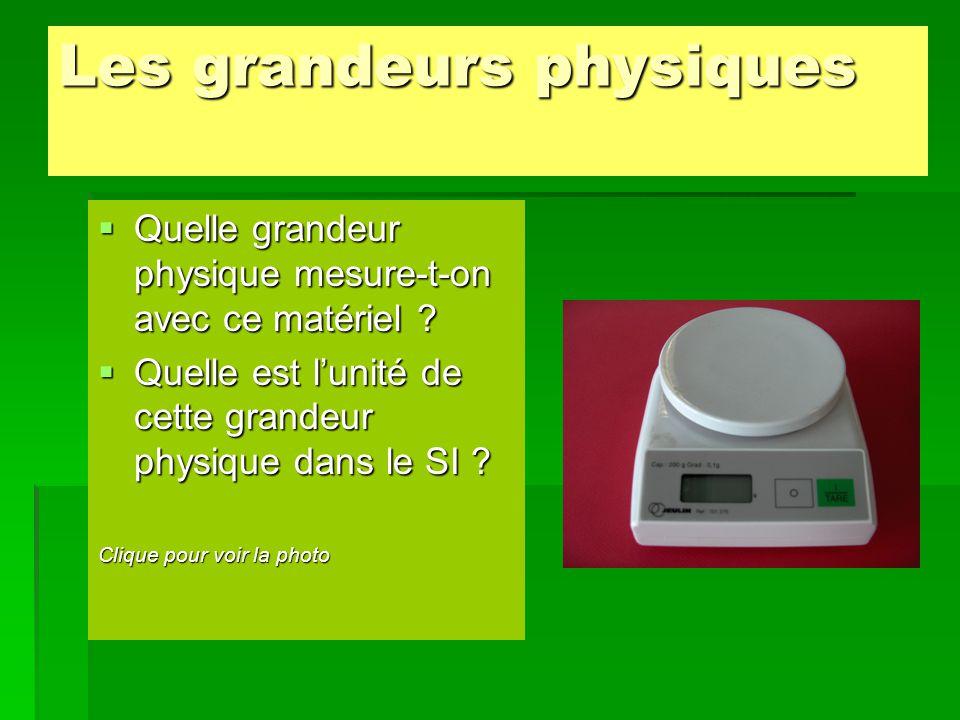  La grandeur physique mesurée par la balance est la masse (m).