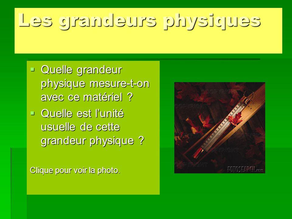 Les symboles des grandeurs physiques sont :  Le volume : V  La tension électrique : U  La fréquence : f  L'intensité de la pesanteur : g  La puissance : P