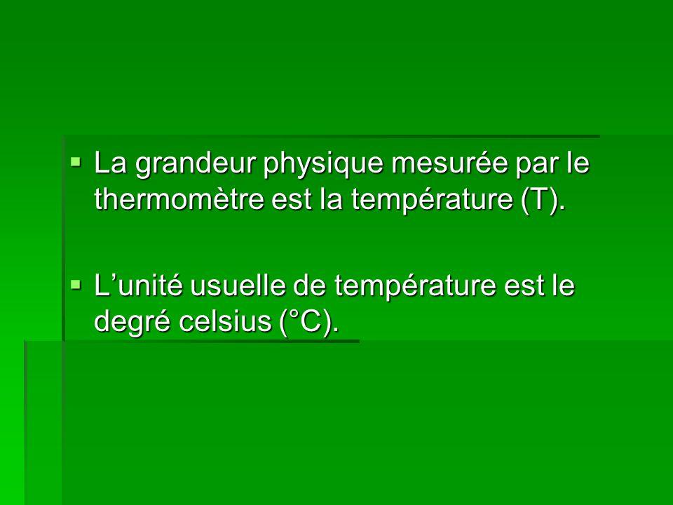  La grandeur physique mesurée par le thermomètre est la température (T).  L'unité usuelle de température est le degré celsius (°C).