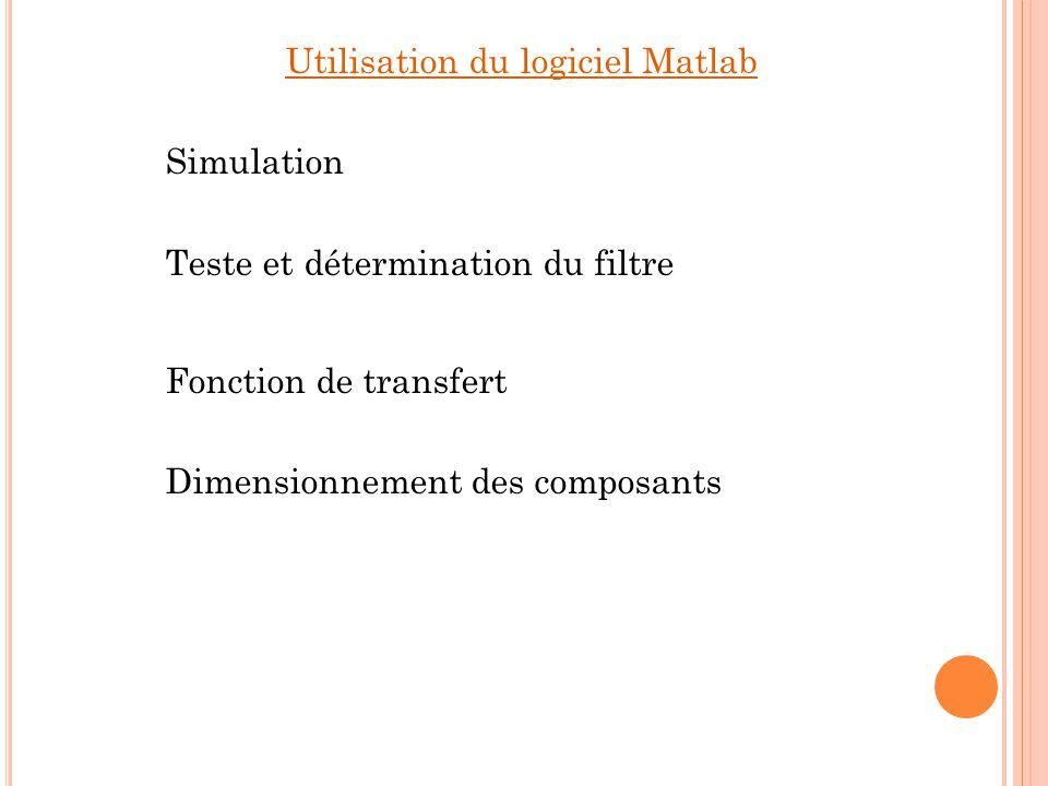 Utilisation du logiciel Pspice Réalisation du schéma structurel Simulation de la 1 ère cellule second ordre Simulation filtre complet