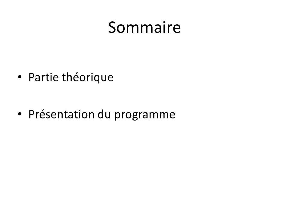 Sommaire Partie théorique Présentation du programme