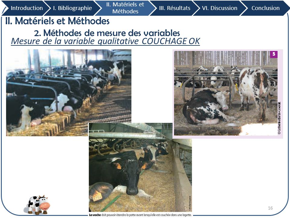 16 II. Matériels et Méthodes 2. Méthodes de mesure des variables Mesure de la variable qualitative COUCHAGE OK IntroductionI. Bibliographie II. Matéri