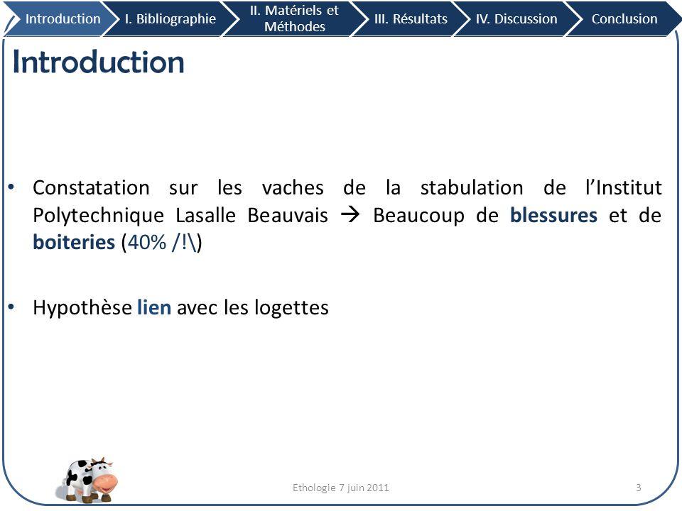 Ethologie 7 juin 201124 III.Résultats 1. Analyse du troupeau IntroductionI.