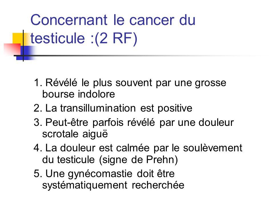 Concernant le cancer du testicule :(3 RF) n touche exclusivement l'homme jeune n 2.