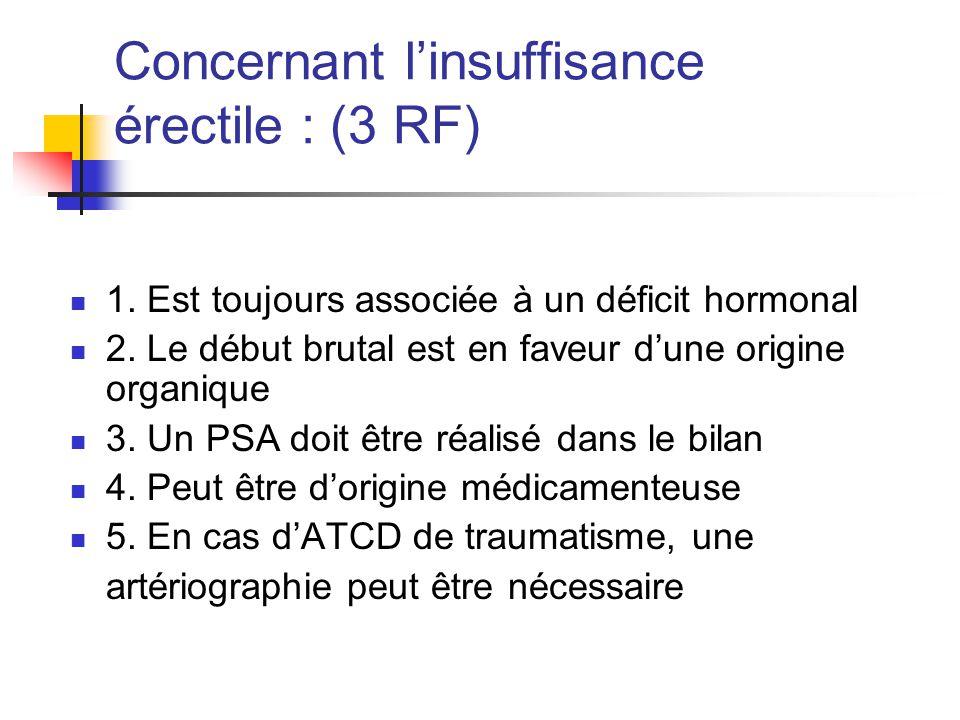 Concernant l'insuffisance érectile : (3 RF) 1.Est toujours associée à un déficit hormonal 2.
