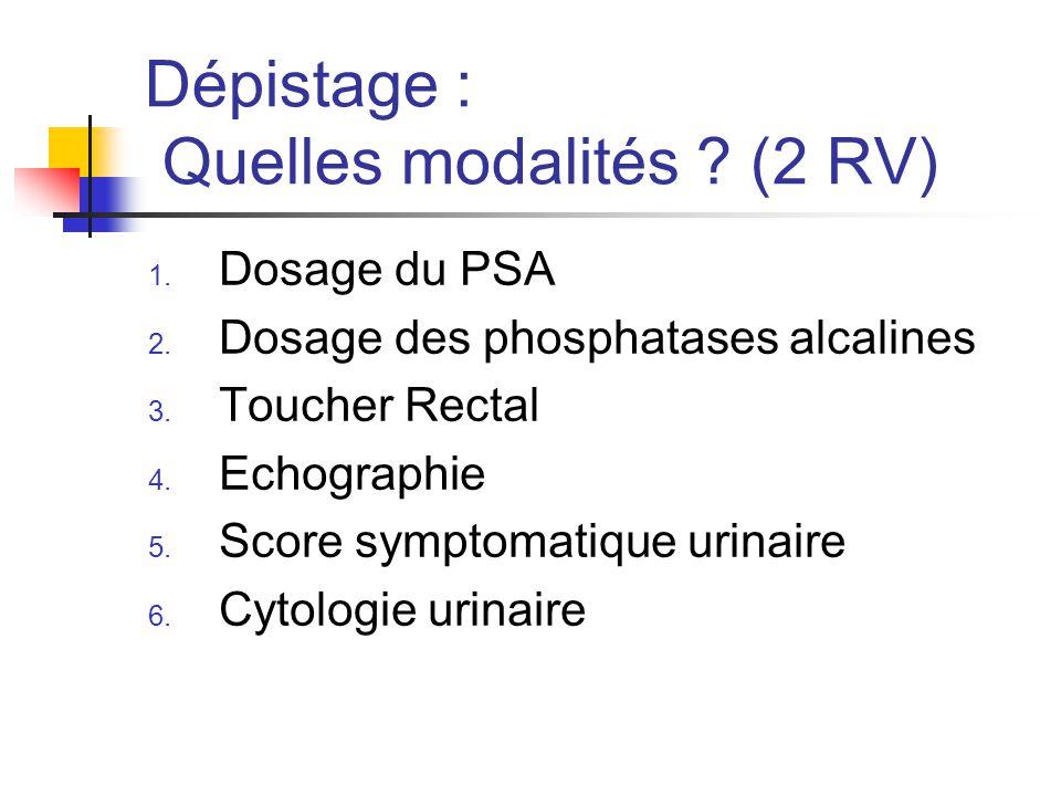 Dépistage : Quelles modalités .(2 RV) 1. Dosage du PSA 2.