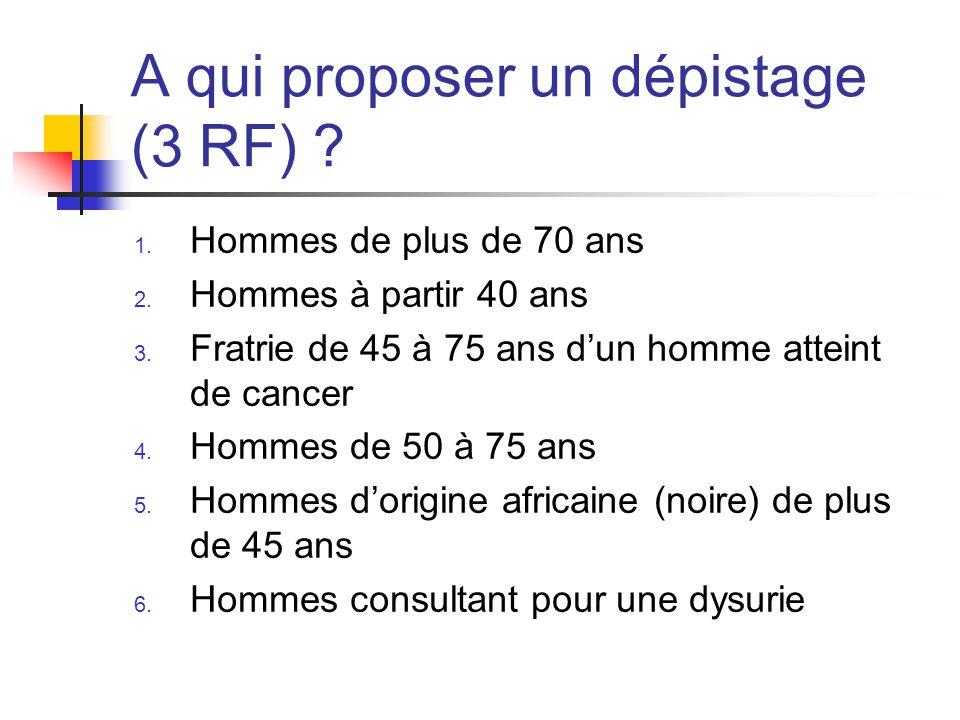 A qui proposer un dépistage (3 RF) .1. Hommes de plus de 70 ans 2.