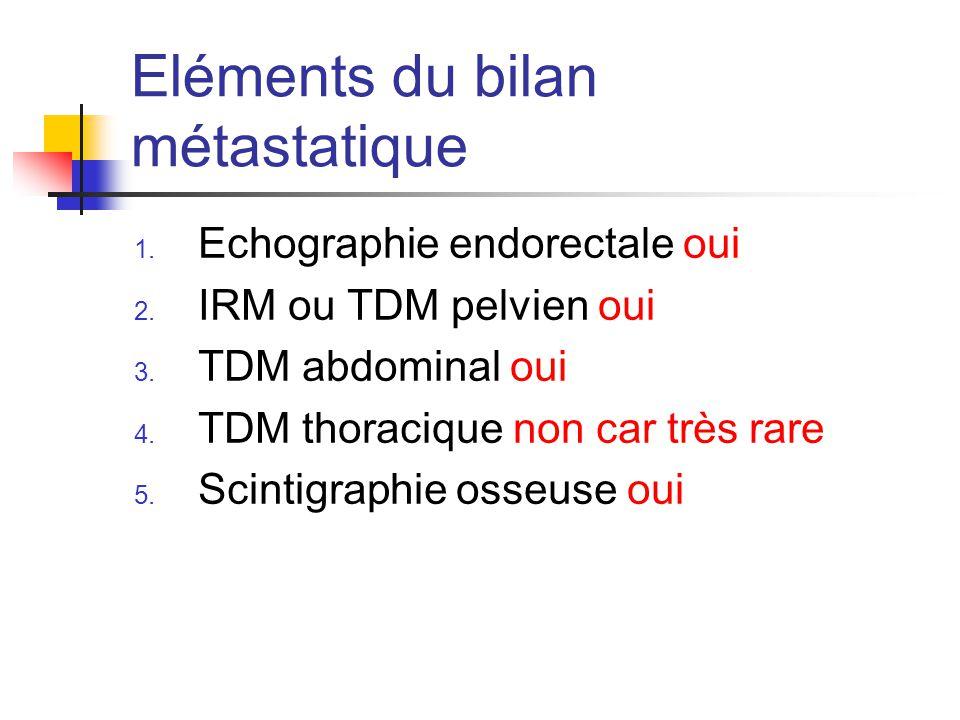 Eléments du bilan métastatique 1.Echographie endorectale oui 2.