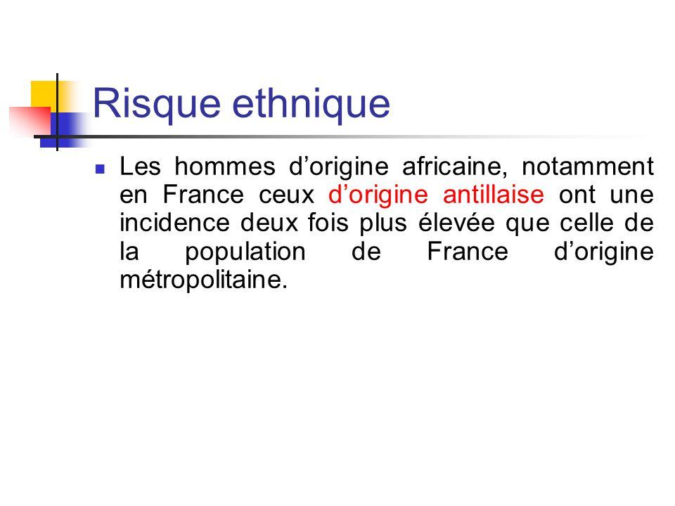 Risque ethnique Les hommes d'origine africaine, notamment en France ceux d'origine antillaise ont une incidence deux fois plus élevée que celle de la population de France d'origine métropolitaine.