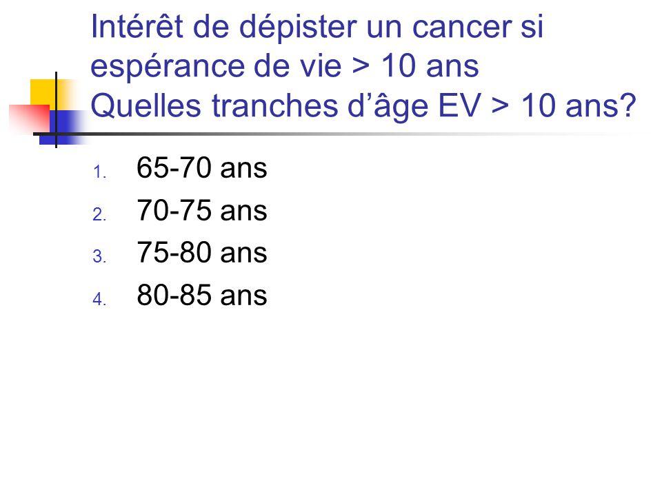 Intérêt de dépister un cancer si espérance de vie > 10 ans Quelles tranches d'âge EV > 10 ans.