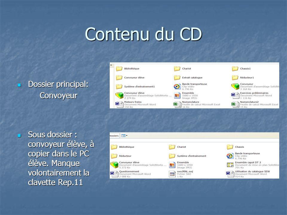 Le dossier élève Un fichier bande transporteuse.avi montre le fonctionnement du convoyeur et une présentation PowerPoint succincte donne un mini mode d'emploi des CD de SEW.