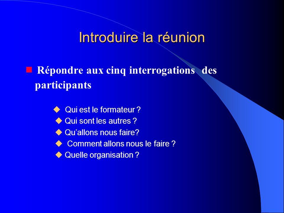 Introduire la réunion  Répondre aux cinq interrogations des participants  Qui est le formateur ?  Qui sont les autres ?  Qu'allons nous faire?  C