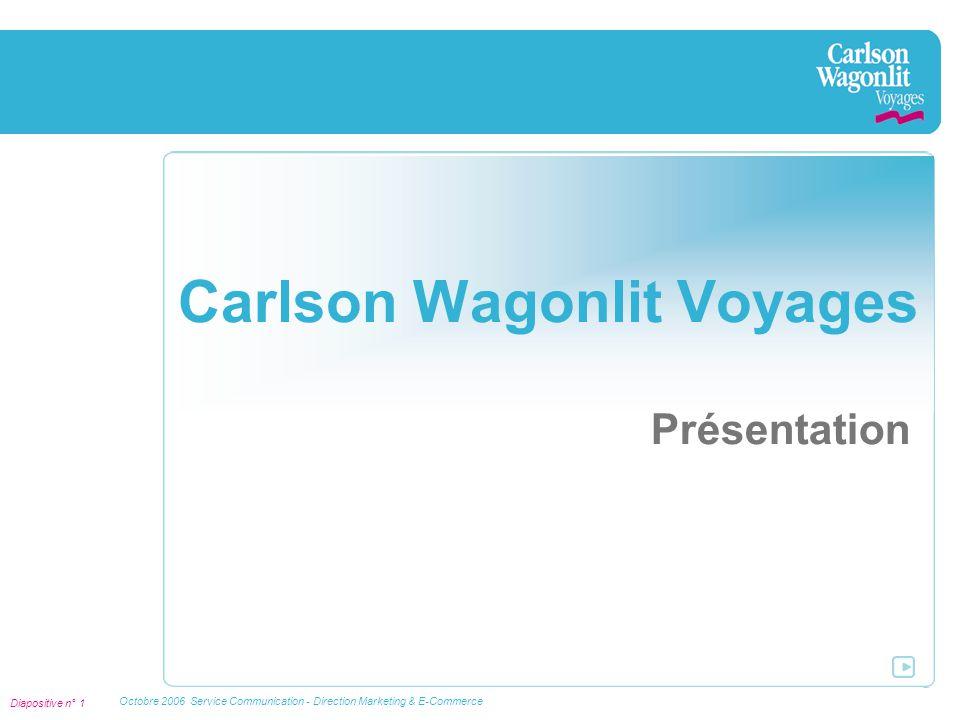 Diapositive n° 2 Octobre 2006 Service Communication - Direction Marketing & E-Commerce Présentation de Carlson Wagonlit Voyages Michel Dinh est Directeur du Réseau Carlson Wagonlit Voyages Fort de plus de 300 agences, le Réseau Carlson Wagonlit Voyages comprend aujourd'hui près de 22 marques de distributeurs, issues de nombreux partenariats tissés en particulier les plus grands groupes de presse régionaux (PQR).