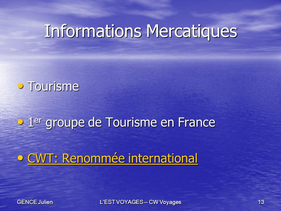 GENCE JulienL'EST VOYAGES -- CW Voyages13 Informations Mercatiques Tourisme Tourisme 1 er groupe de Tourisme en France 1 er groupe de Tourisme en Fran