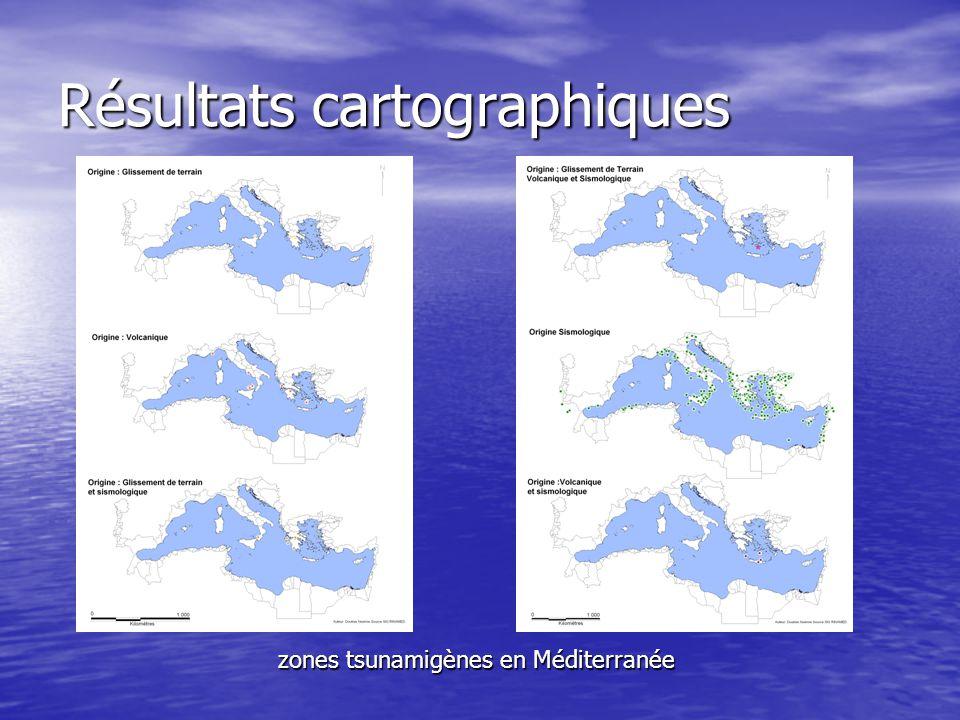 Résultats cartographiques zones tsunamigènes en Méditerranée