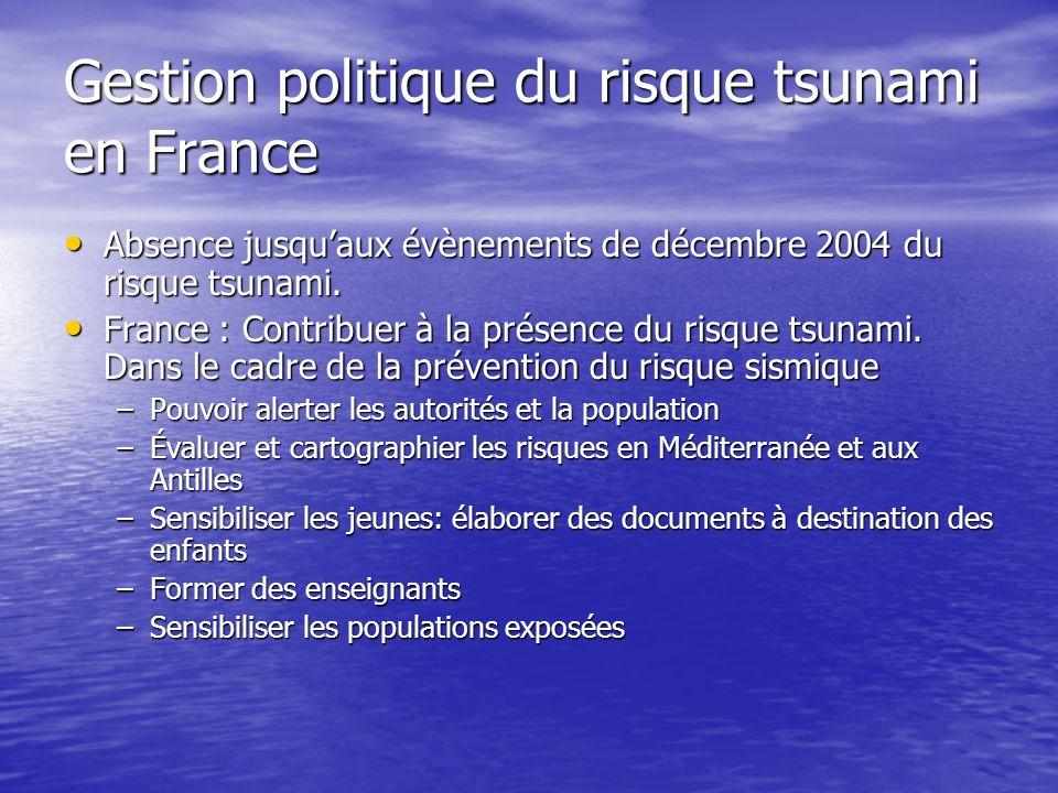 Gestion politique du risque tsunami en France Absence jusqu'aux évènements de décembre 2004 du risque tsunami.
