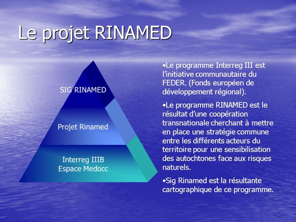 Le projet RINAMED SIG RINAMED Projet Rinamed Interreg IIIB Espace Medocc Le programme Interreg III est l'initiative communautaire du FEDER. (Fonds eur